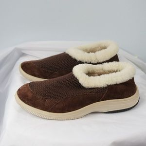 Propet Brown  Leather Knit Slipper Shoes Size 7